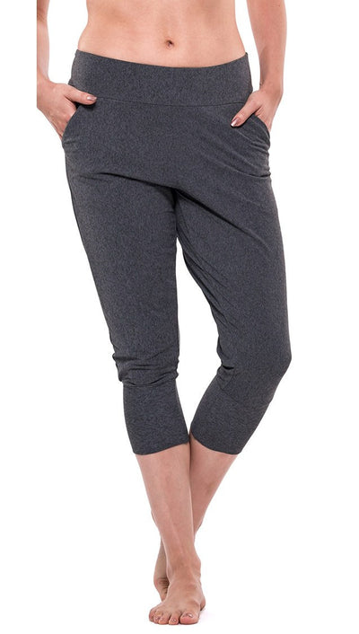 front view of charcoal colored joggers