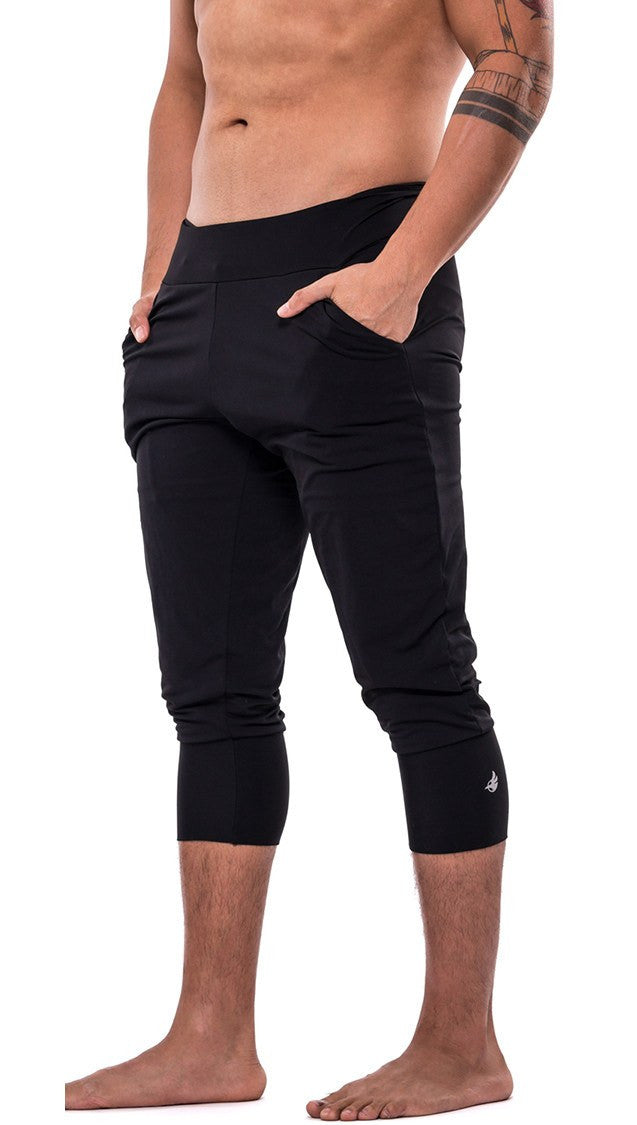 side view of black joggers