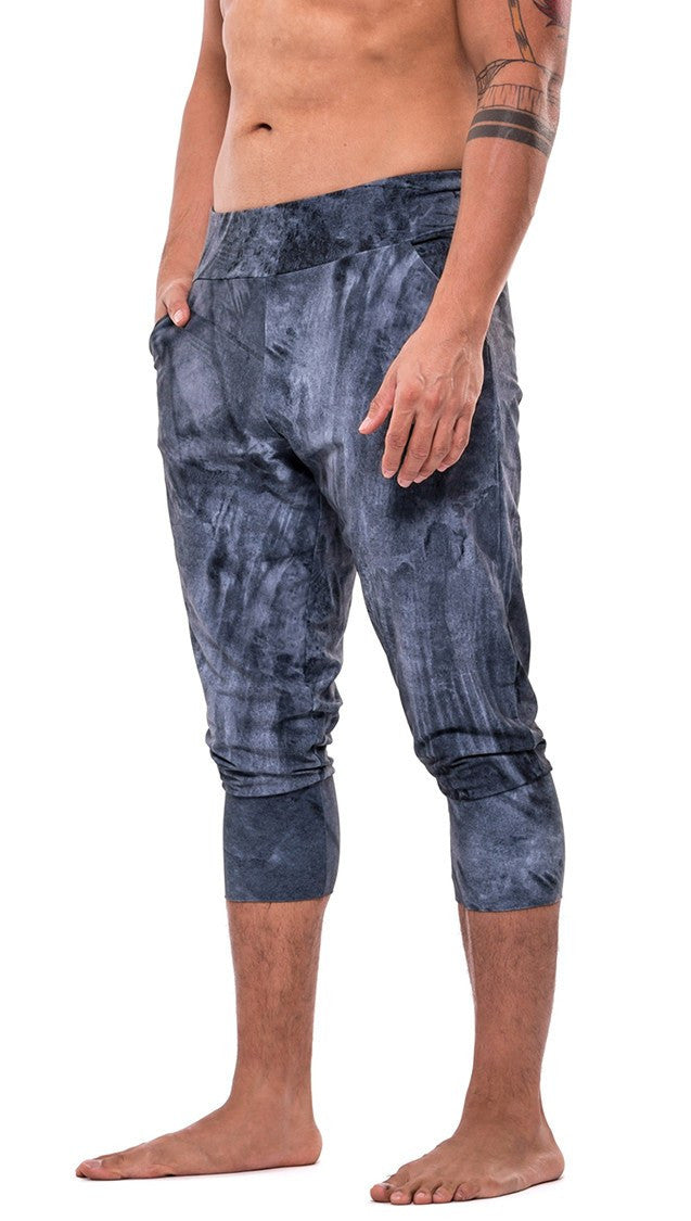 front view of midnight colored brushstroke inspired joggers