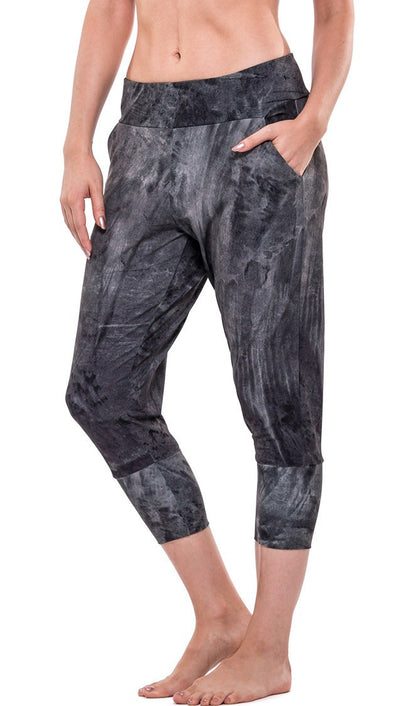 front view of brushstroke inspired printed joggers