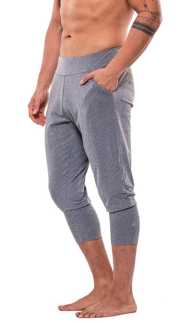 front view of soft heather gray joggers