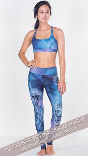 front view of model wearing jellyfish themed printed full length leggings