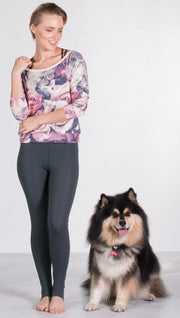 front view of model wearing romantic floral roses printed pullover