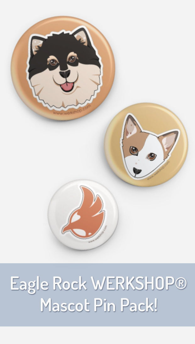 closeup view of 3 pins with dog design and company eagle logo