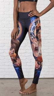 front view of model wearing full length leggings with Japanese witchcraft and fox theme