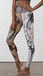 closeup front view of model wearing circus design mashup printed full length leggings