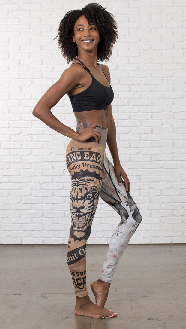 right side view of model wearing circus design mashup printed full length leggings