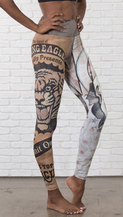 closeup right side view of model wearing circus design mashup printed full length leggings