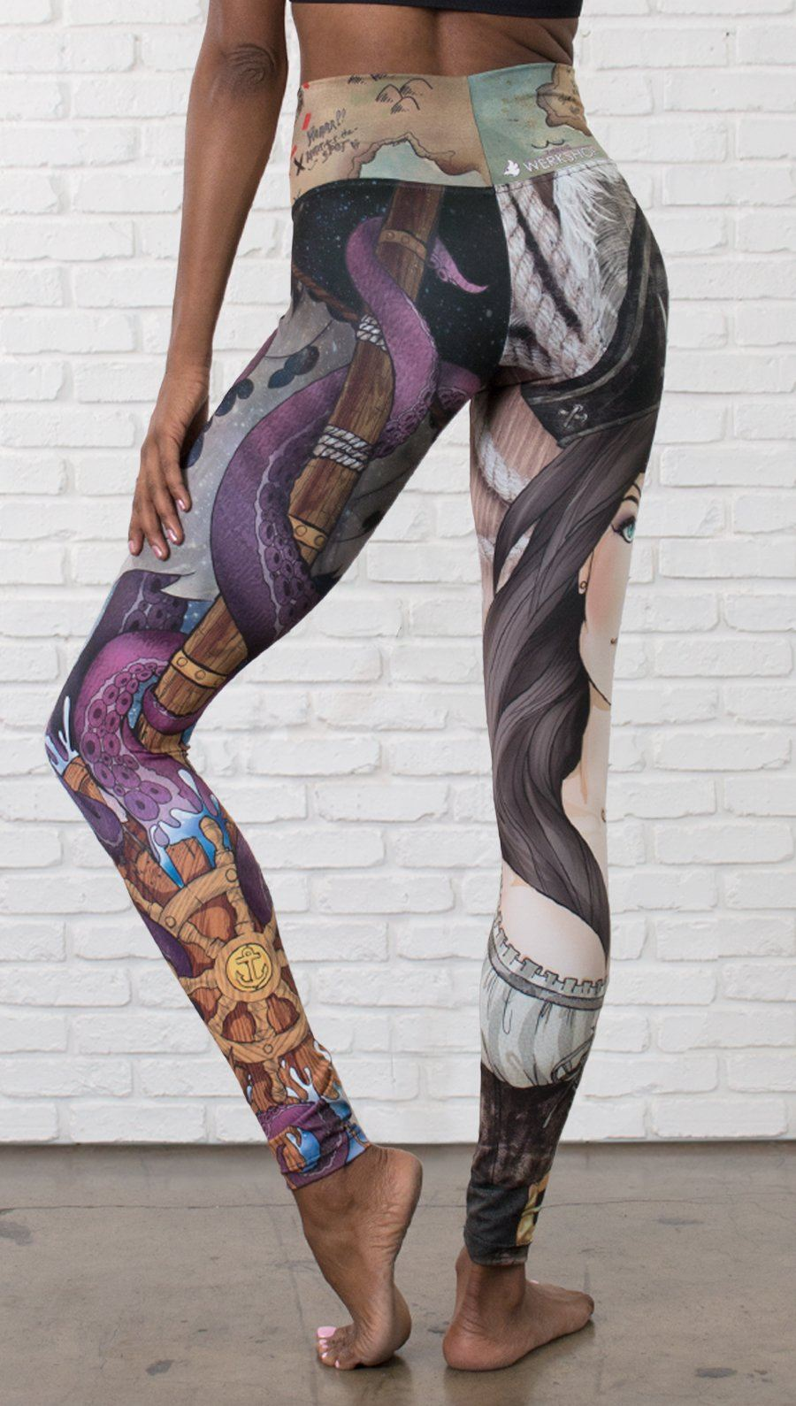 close up front view of model wearing pirate girl mashup themed printed capri leggings