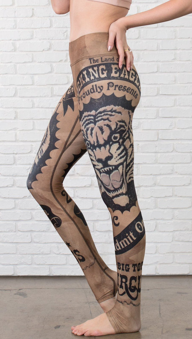closeup left side view of model wearing vintage circus tiger printed full length leggings