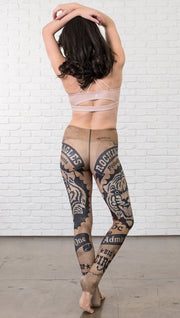 back view of model wearing vintage circus tiger printed full length leggings