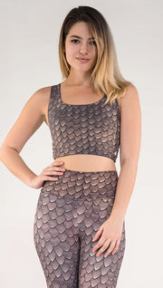 Front view of model wearing the reversible Dragon/ Leopard top in the Dragon side in the color brown