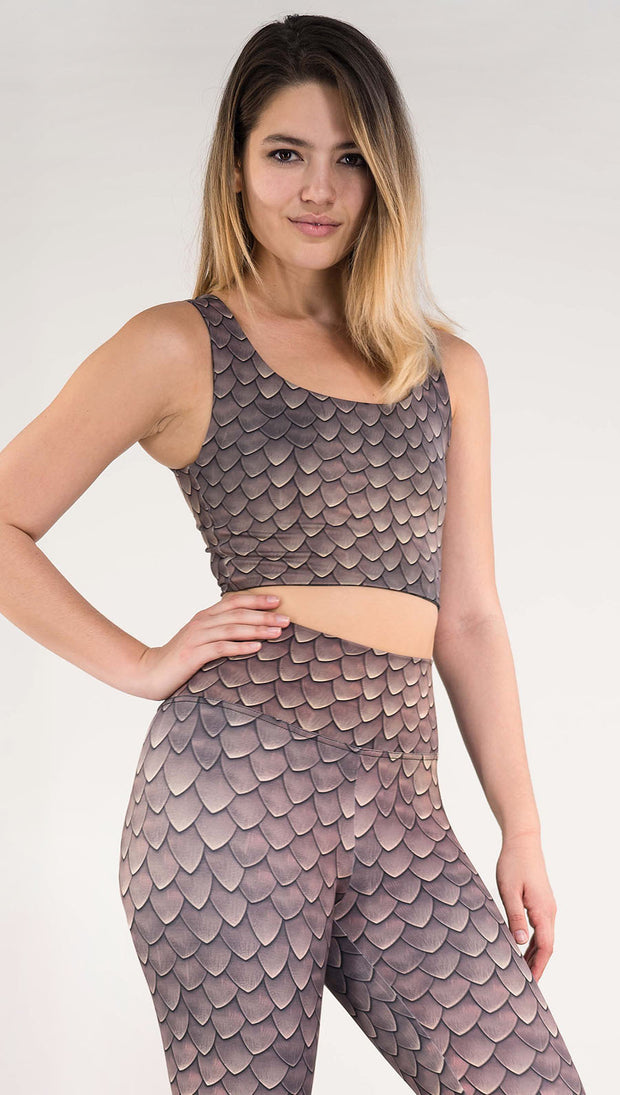 Right view of model wearing the reversible Dragon/ Leopard top in the Dragon side in the color brown