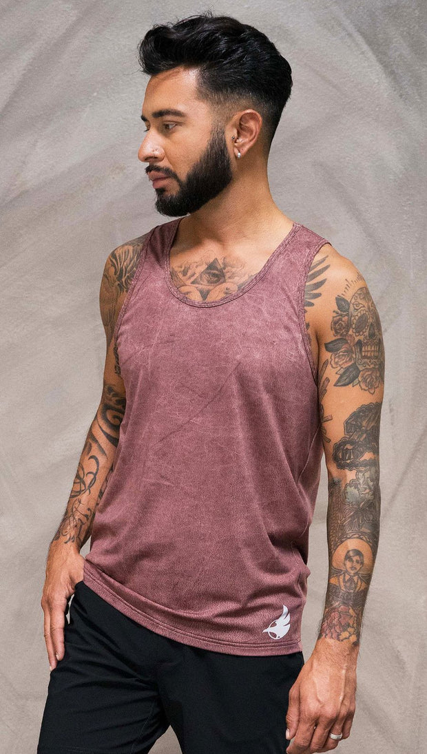Close up front view of model wearing brick red printed tank top