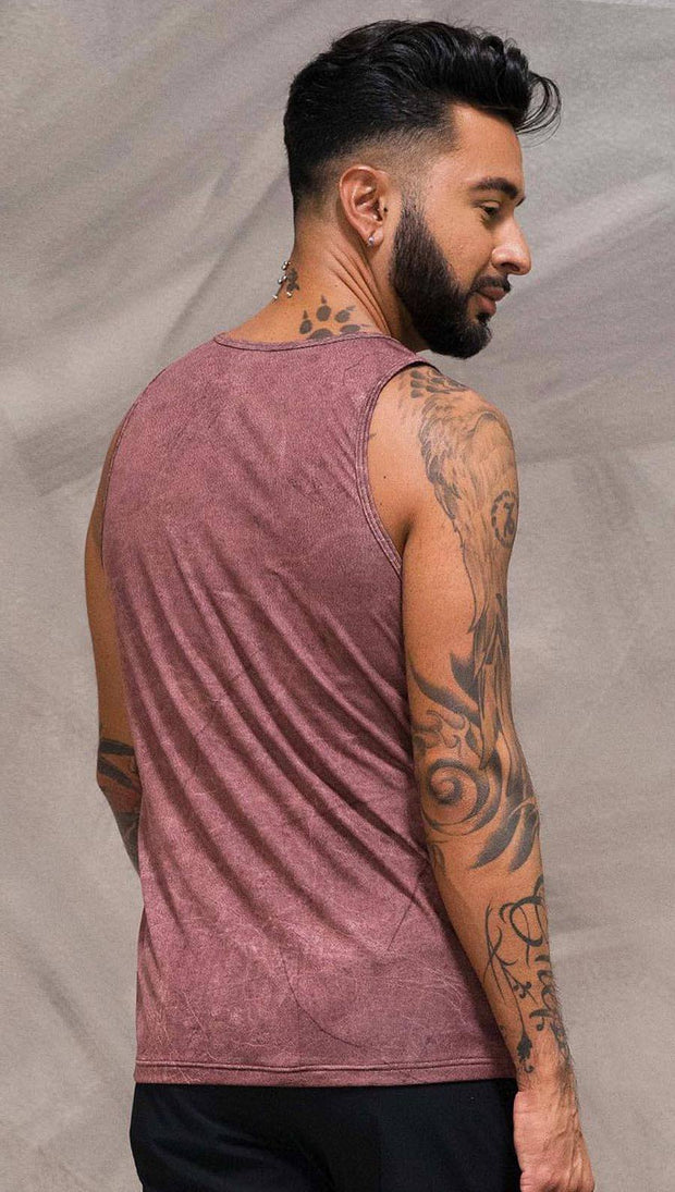 Close up back view of model wearing brick red printed tank top
