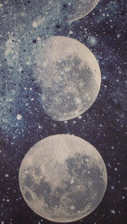 closeup view of moon cycle themed yoga mat design