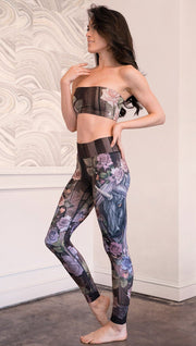 left side view of model wearing unicorn themed full length leggings