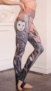 closeup right side view of model wearing owl themed full length leggings