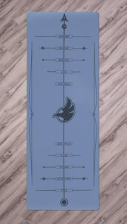 Top view of blue yoga mat with werkshop logo