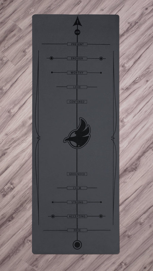 Top view of black yoga mat with werkshop logo