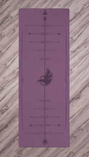 Top view of purple yoga mat with werkshop logo