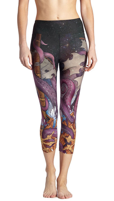 front view of mythical octopus themed printed capri leggings