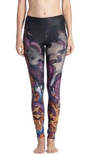 closeup front view of model wearing mythical octopus themed printed full length leggings