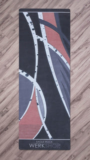 full top view of motocross inspired yoga fitness mat