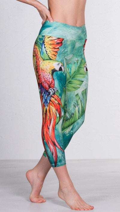 closeup front view of model wearing macaw themed capri leggings