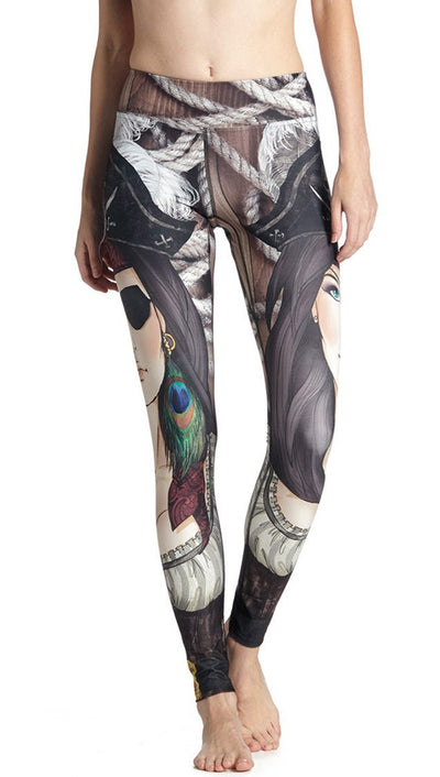 close up front view of model wearing pirate girl themed printed full length leggings
