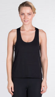 closeup front view of model wearing black sports tank top