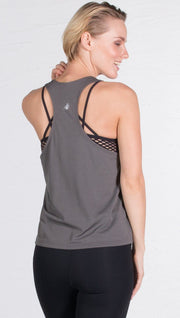 closeup back view of model wearing gray sports tank top