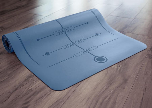 Partially rolled blue yoga mat on floor