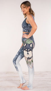 Side view of model wearing Finnish Lapphund dog printed full length leggings