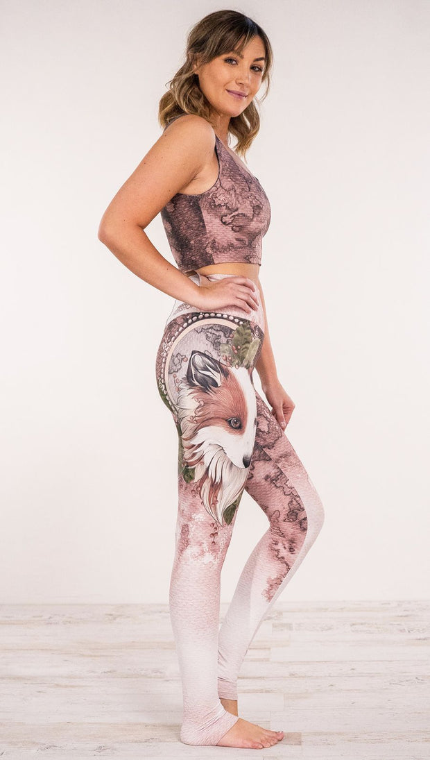 Right side view of model wearing Pink/Mauve Icelandic Sheepdog Leggings with Original Tattoo-Inspired artwork