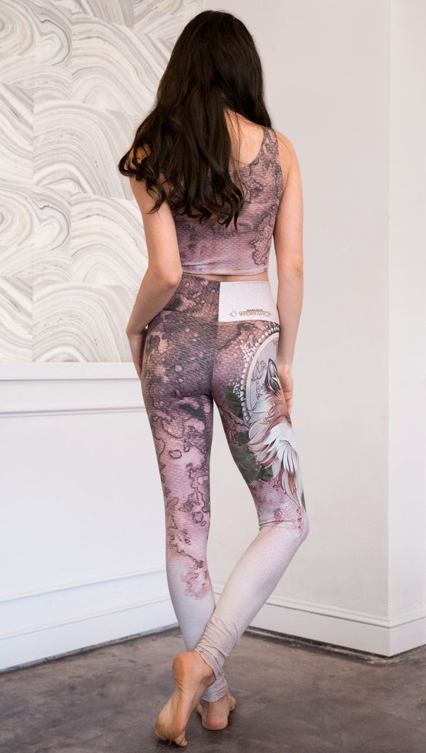 back view of model wearing Pink/Mauve Icelandic Sheepdog Leggings with Original Tattoo-Inspired artwork