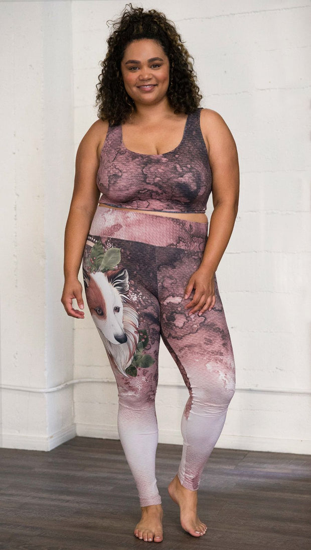 Front view of model wearing Pink/Mauve Icelandic Sheepdog Leggings with Original Tattoo-Inspired artwork