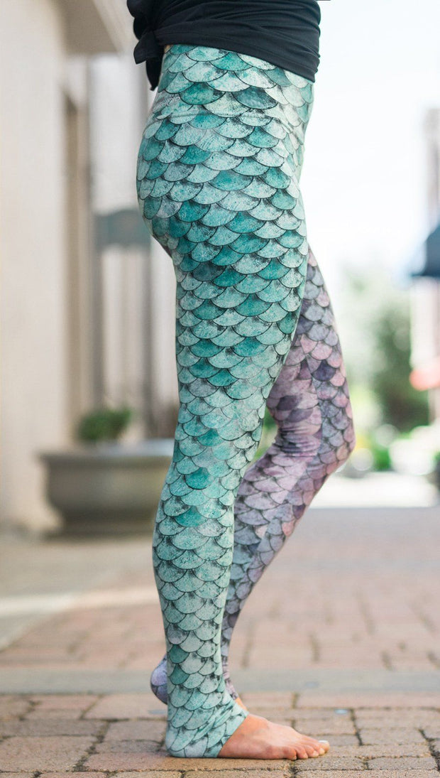 closeup right side view of model wearing mermaid scales design printed full length leggings