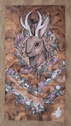 full view of jackalope design beach towel