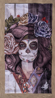 top view of beach towel with Sugar Skull Dia De Los Muertos design