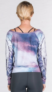 closeup back view of model wearing unicorn design printed pullover