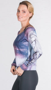 closeup left side view of model wearing unicorn design printed pullover