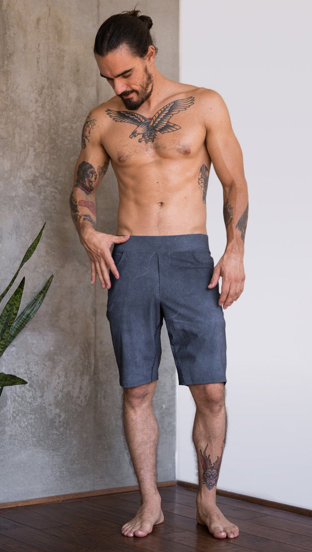 front view of model wearing slate mens performance shorts