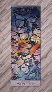 top view of colorful butterfly themed printed yoga mat