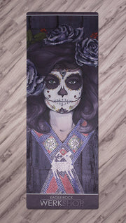 full top view of sugar skull themed yoga mat