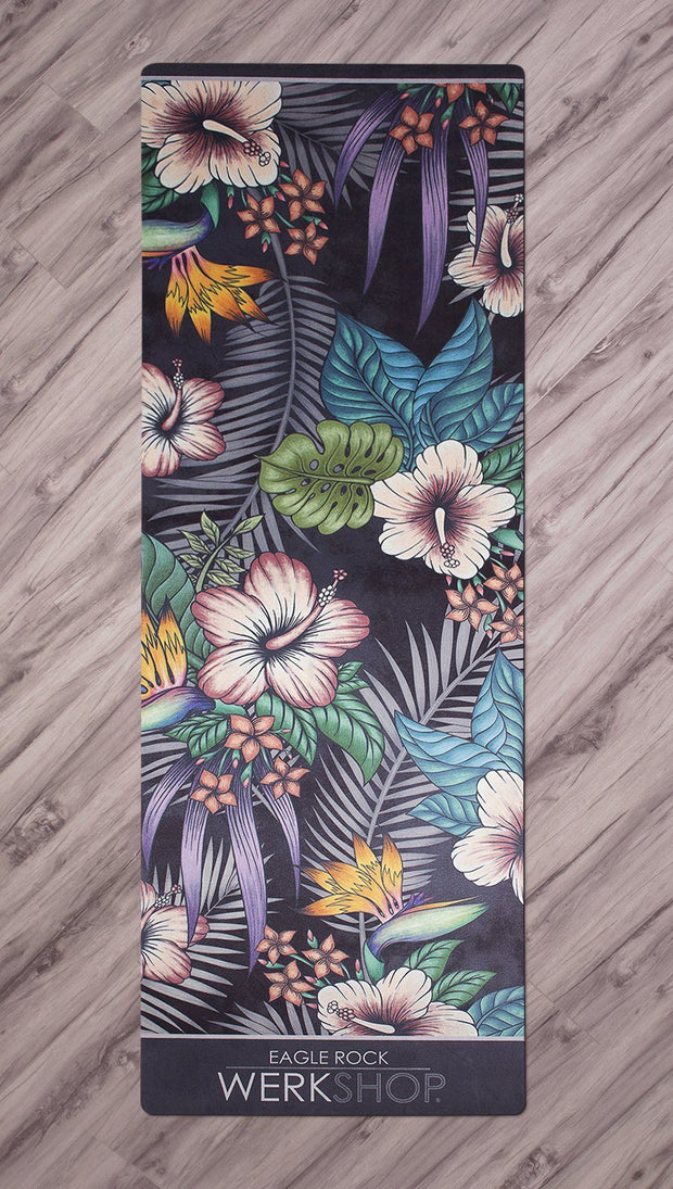 top view of printed yoga mat with tropical floral design