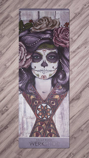 full top view of sugar skull yoga mat