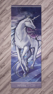 top full view of unicorn design printed yoga fitness mat