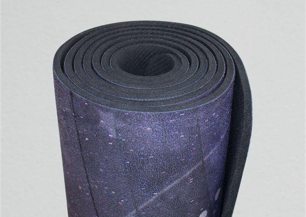 View of rolled up pegasus inspired design yoga fitness mat
