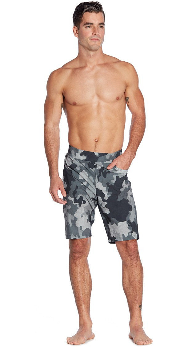 front view of camouflage printed mens shorts